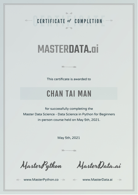 Master Data Science Course Cert Sample - Data Science Course in Hong Kong