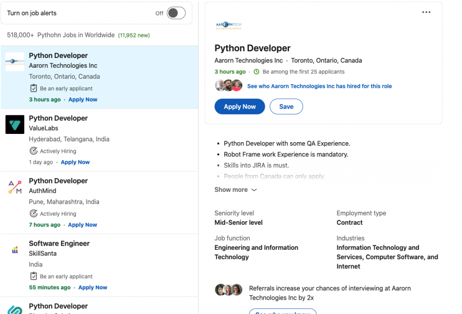 Linkedin jobs for python